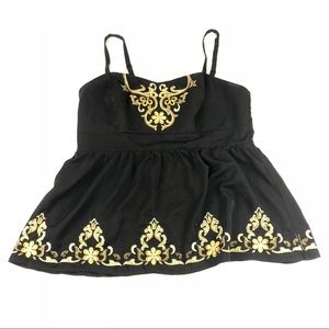 Torrid Sz 1 Plus Size Black Gold Embroidered Top